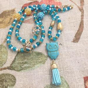 Stone Owl Tassel Necklace